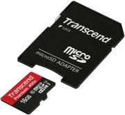 transcend ts16gusdu1 16gb micro sdhc class 10 uhs i 400x premium with adapter photo